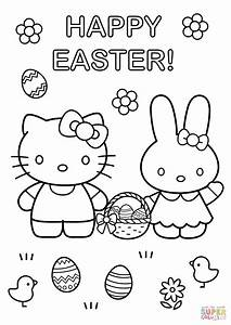 Hello Kitty With Easter Bunny Coloring Page Free