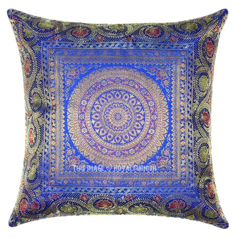 medallion throw pillow blue medallion circle decorative and accent silk pillow