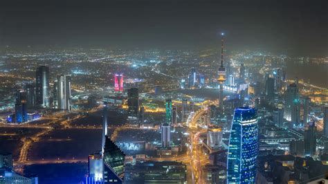 Skyline With Skyscrapers Night Timelapse In Kuwait City