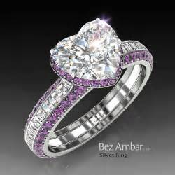 engagement rings with purple diamonds silvet amethyst engagement ring set for shape bez ambar original designer jewelry