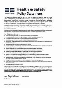 Hse Health And Safety Policy Template Health Safety Policy Statement Acheson Glover