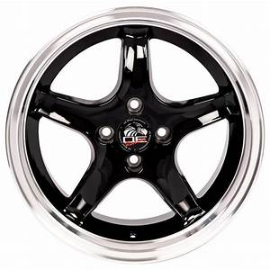 17-inch Machined Lip Black Rims fit Ford Mustang - FR04 Replica Wheels