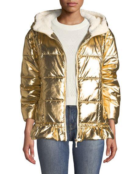 kate spade  york metallic puffer jacket  sherpa lining neiman marcus