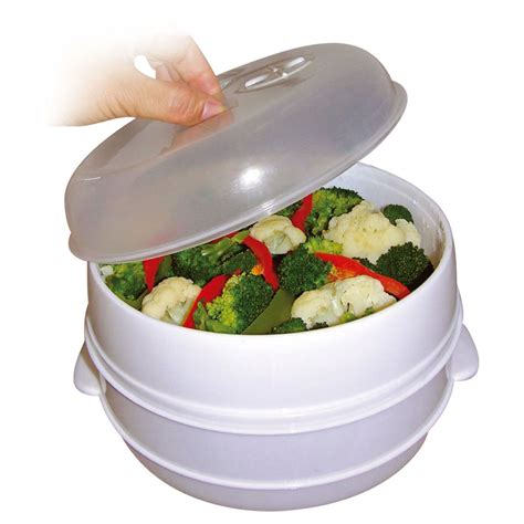 healthy cooker healthy living microwave 2 tier steamer cooker for vegetable rice pasta cooking ebay