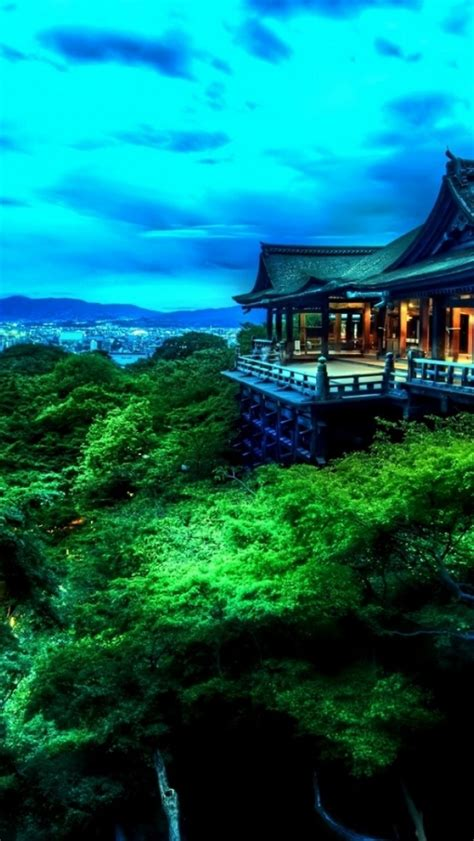 tempel trees city japan iphone  wallpaper