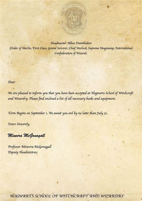 acceptance letter harry potter printables harry potter