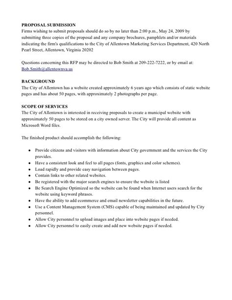 requirements document template basic website rfp sample