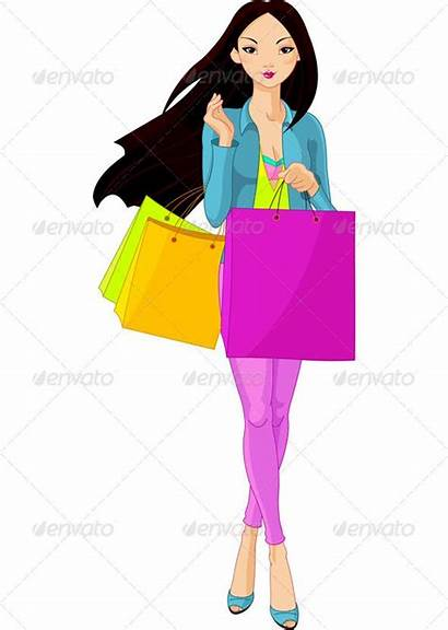 Shopping Vector Asian Clipart Bags Lady Graphicriver