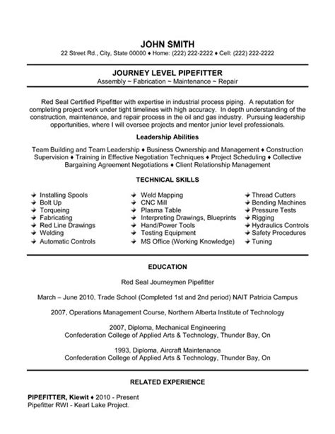 Journeyman Pipefitter Resume by Journey Level Pipefitter Resume Template Premium Resume
