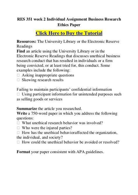 res  week  individual assignment business research