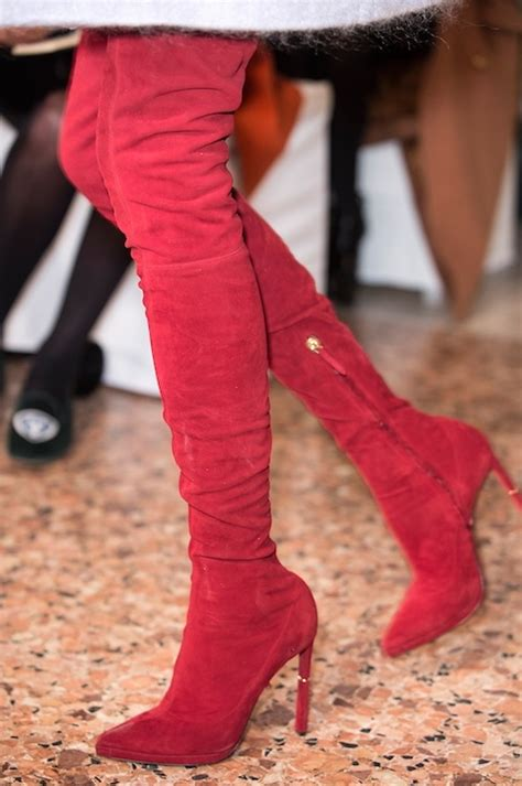 leg hugging red suede boots pictures   images