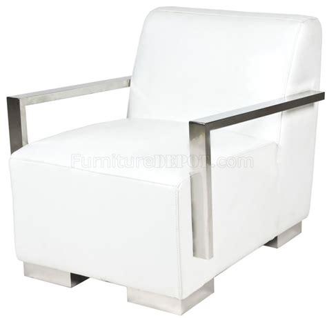 white bi cast leather modern lounge chair w metal arms legs
