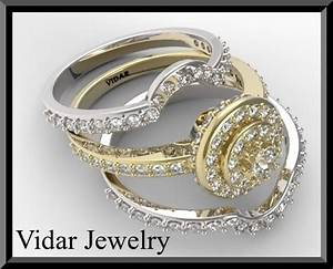 two tone gold halo diamond wedding ring set bridal rings With two toned wedding ring sets