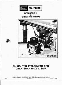Manuals And Guides 171208  1983 Craftsman 32765 Pin Router