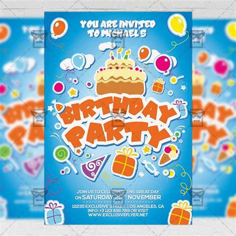 Kids Birthday Invitation Card A5 PSD Template