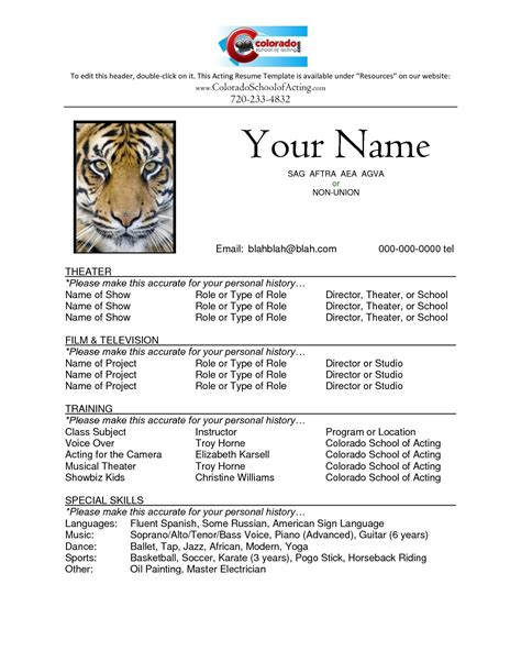 image result  acting resume template  kids acting