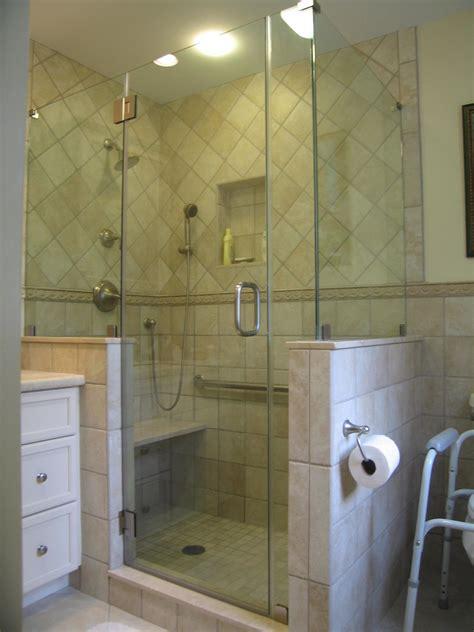 frameless shower enclosure  shape  high knee walls
