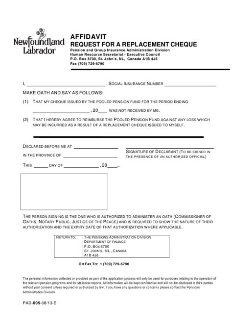 Form PAD-005 Download Printable PDF or Fill Online