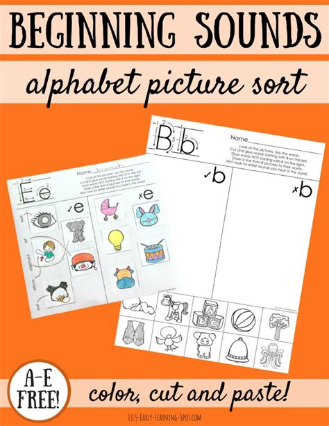 alphabet beginning sounds picture sorts lizs early