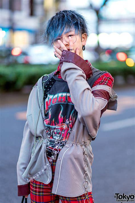 harajuku menswear street styles  patent red puffer