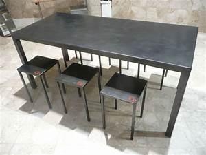 Table En Metal : table haute en m tal patin e cir e verni capucine cassaigne ~ Teatrodelosmanantiales.com Idées de Décoration