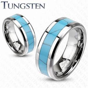 mens womens tungsten turquoise inlay band ring wedding With mens silver and turquoise wedding rings