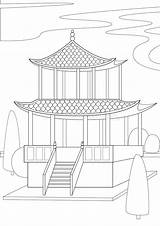 Coloring Outline Linear Gazebo Colorless Asia Architecture A4 Snowman Cold Concept Winter sketch template