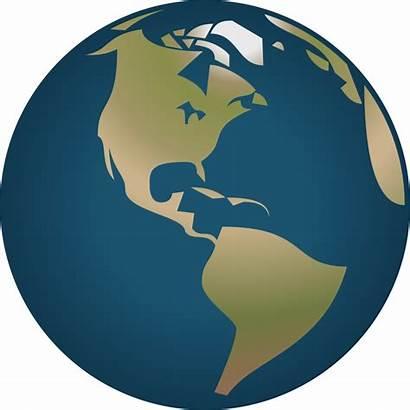 Globe Clipart America Simple Vector North Facing