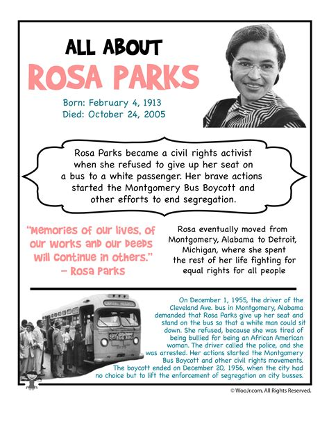 Rosa Parks Worksheet Kidz Activities