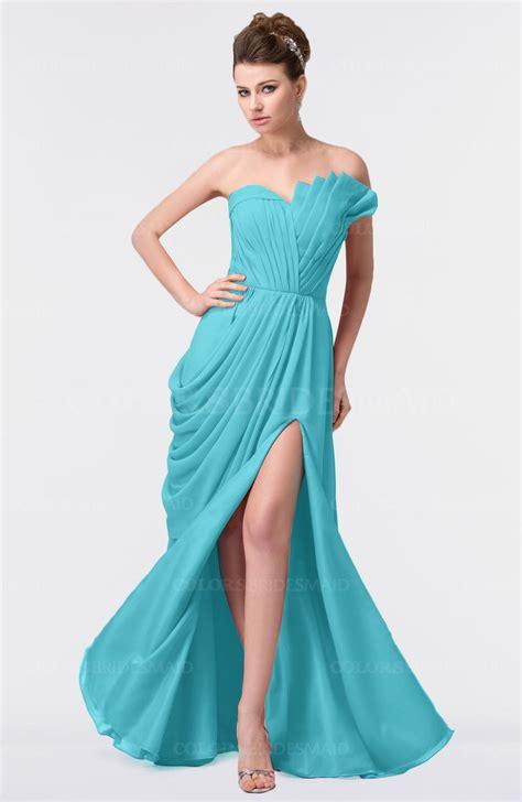 turquoise elegant a line strapless sleeveless backless
