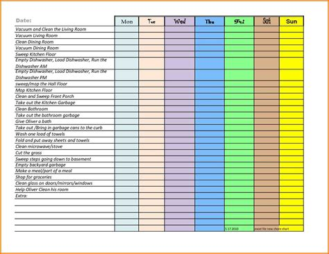 Chore Chart For Adults Templates by Chore Chart For Adults Templates Write Happy Ending