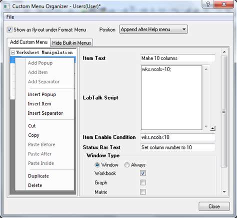 Control Template Context Menu by Help Online Origin Help The Custom Menu Organizer