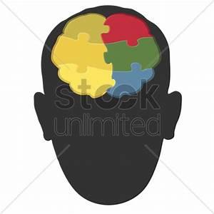 Human head silhouette with brain art Vector Image ...