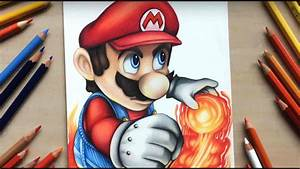 Drawing Mario from Nintendo using coloured pencils - YouTube