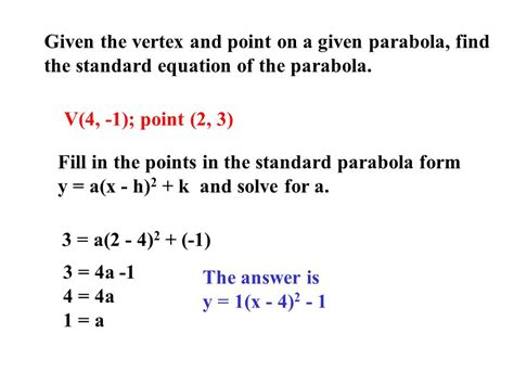 find standard form equation parabola 2 1 quadratic functions use the graphing calculator and