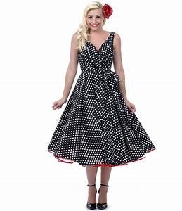 1950s Style Clothing Unique Vintage Polka Dots Black ...