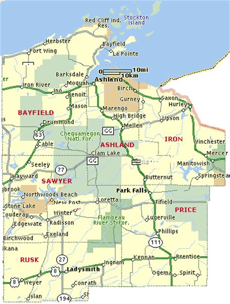 Wisconsin Indian Head Country: Map of Bayfield, Ashland ...