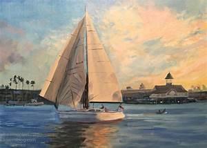 Newport Beach Sailboat Sunset Seascape Oil Painting
