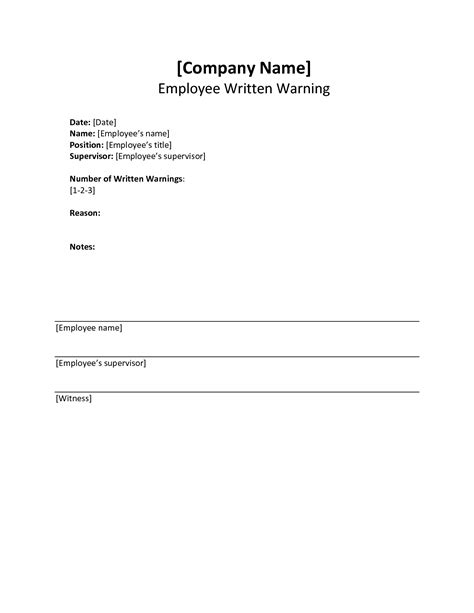Written Warning Template Written Warning Template Cyberuse