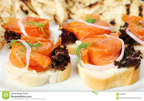 salmon canapes smoked salmon canapes royalty free stock image image