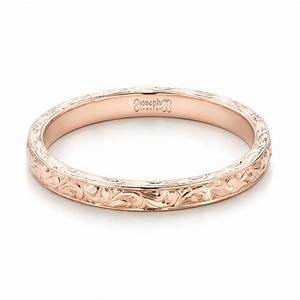 custom rose gold hand engraved wedding band 101619 With wedding rings engraved