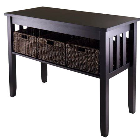 Sofa Tables Walmart by Morris Console Table With 3 Baskets Espresso Walmart