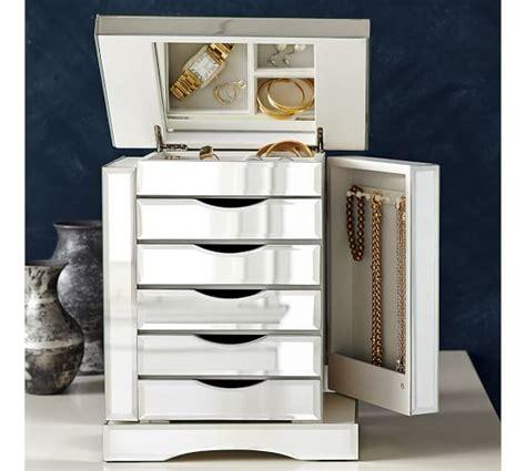 mirrored glass jewelry box ultimate mirrored jewelry box pottery barn 7534