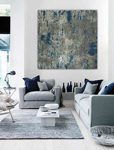 wall art large abstract painting teal blue navy grey gray With kitchen colors with white cabinets with contemporary abstract canvas wall art