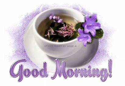Morning Tea Glitter Purple Graphics Greetings Text
