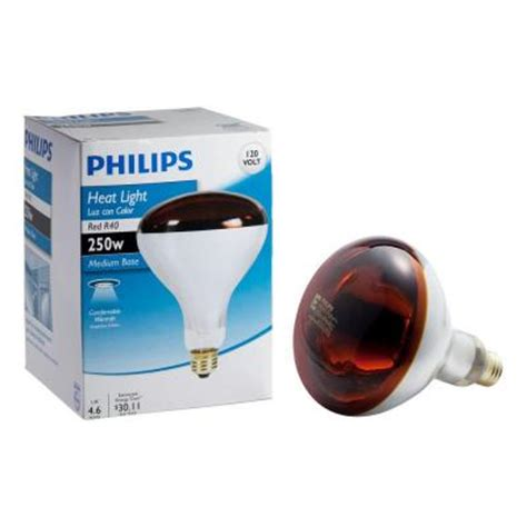 watt incandescent  red heat lamp light bulb