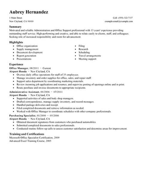 Office Administration Resume Objective by Admin Resume Exles Admin Sle Resumes Livecareer