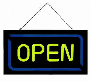 Flashingboards LED Neon Open Sign with Chain Epoxy Resin