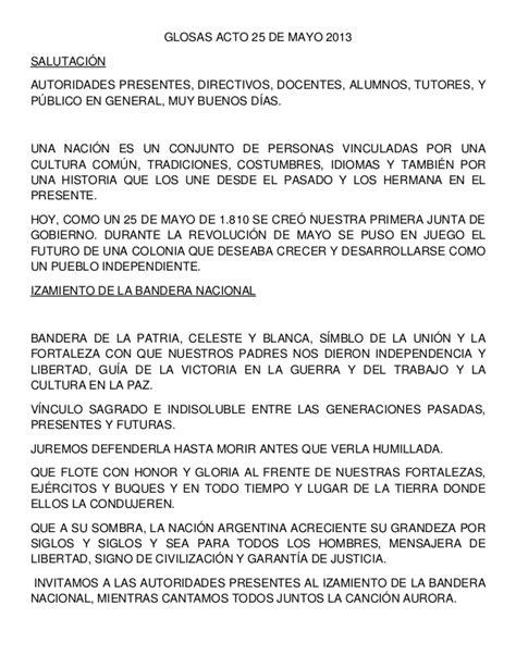 glosas acto 25 de mayo 2013