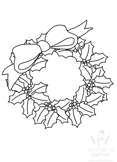 christmas wreath  large bow template coloring christmas
